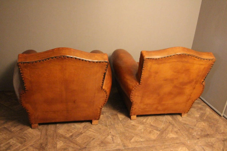 Pair of 1930s French Leather Club Chairs, Moustache Back For Sale 2