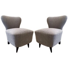 Pair of 1930s French Slipper Chairs Style of Jacques Adnet