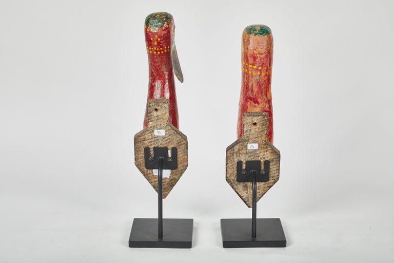 Wood Pair of 1930s Indonesian Guardian Bird Plaques For Sale