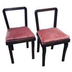 Cesare Scocimarro Pair of 1930s Italian Art Deco  Bedroom Chairs in Powder Pink