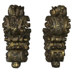 Pair of 1930s Italian Carved Giltwood Sconces