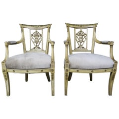 Pair of 1930s Italian Neoclassical Painted Armchairs with Urns