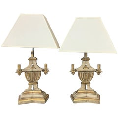 Pair of 1930s Italian Neoclassical Parcel-Gilt Candleholder Table Lamps