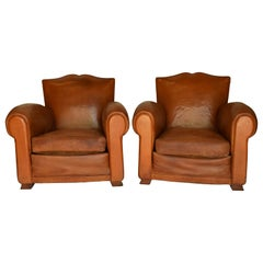 Pair of 1930s Leather Moustache Leather Club Chairs