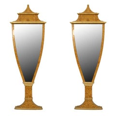 Pair of 1930's Neoclassic Style Italian Birch and Gilt Mirrors