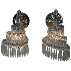 Pair of 1930s Nickel and Crystal French Art Deco Wall Sconces