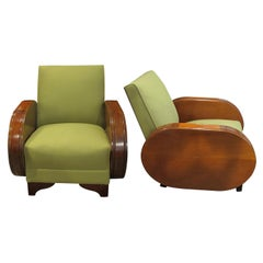Pair of 1930s Northern European Walnut Art Deco Armchairs in Green Fabric