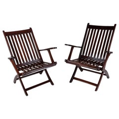 Pair of 1930s Rosewood Steamer Chairs, British