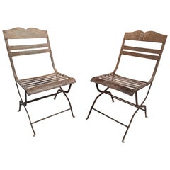 Pair of 1930s Spanish Cinema Theatre Iron Chairs