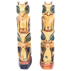 Pair of 1930s Tlingit Totems