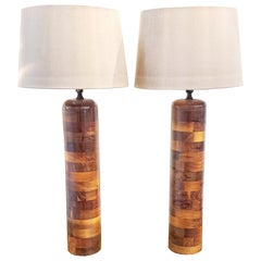 Pair of 1930s Turned Wooden Lamps