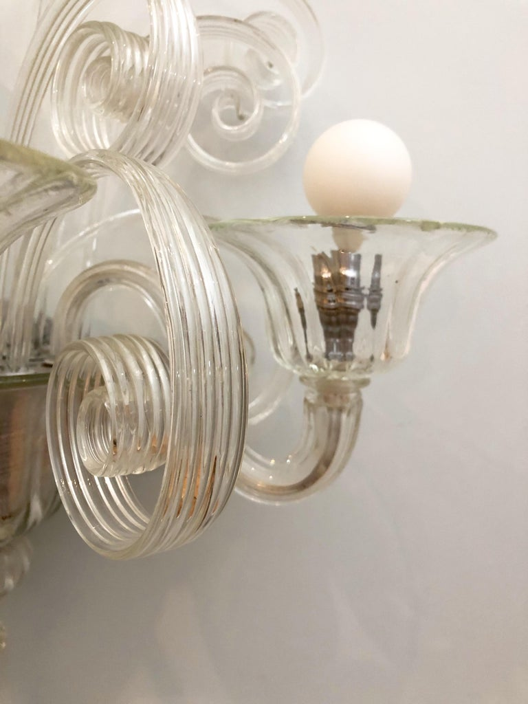 French Pair of 1930s Veronese Glass Sconces For Sale