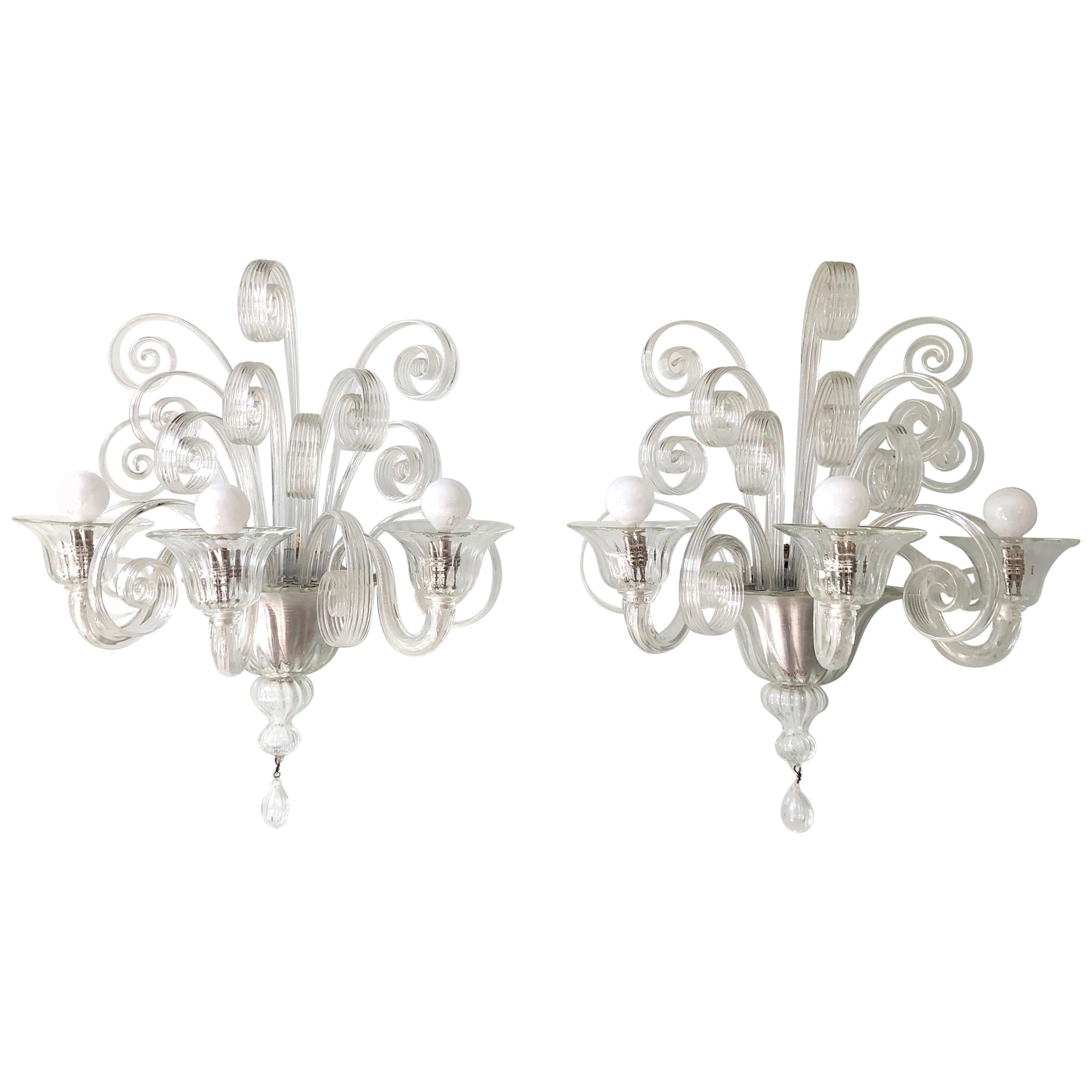 Pair of 1930s Veronese Glass Sconces