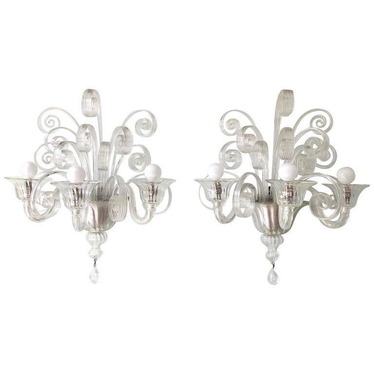 Pair of 1930s Veronese Glass Sconces For Sale