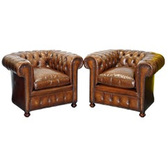Pair of 1930s Vintage Restored Chesterfield Club Armchairs Cigar Brown Leather
