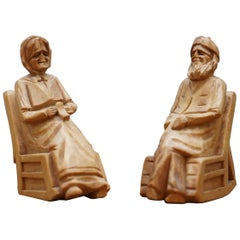 Pair of 1938 Andre Bourgault Miniatur Carved Wood Statues Couple Rocking Chairs