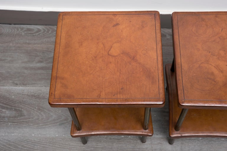 Leather Pair of 1940s Side Tables For Sale