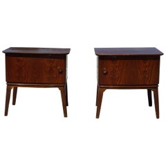 Pair of 1940s-1950s Bedside Tables in Flamed Mahogany Wood