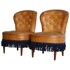 Pair of 1940s-1950s Spanish Leather Chairs