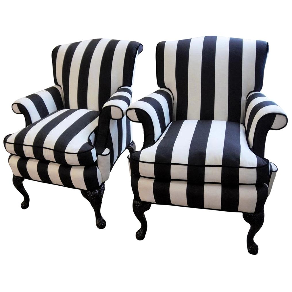 Pair of 1940s Armchairs Wing Chairs with New Upholstery and Ebonized Legs