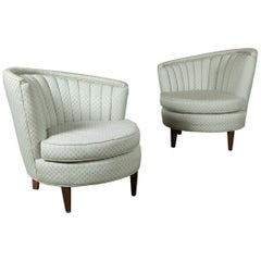 Pair of 1940s Art Deco Channeled Back Club Chairs