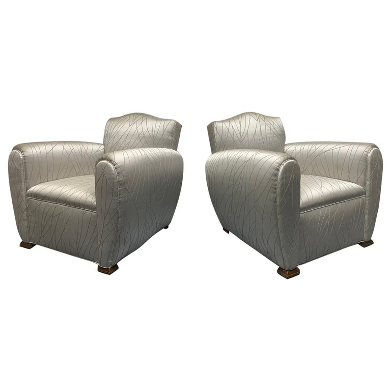 Pair of 1940s Art Deco Club Chairs For Sale