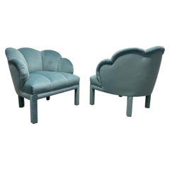 Pair of 1940s Art Deco Scalloped Top Club Chairs