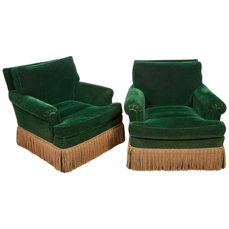 Pair of 1940s Art Deco Velvet Upholstered Lounge Chairs