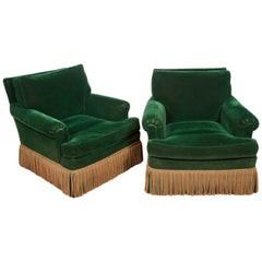 Pair of 1940s Art Deco Velvet Upholstered Lounge Chairs