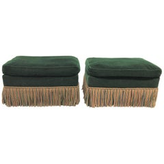 Pair of 1940s Art Deco Velvet Upholstered Ottomans