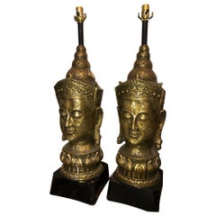 Pair of 1940s Asian Resin and Wood Lamps