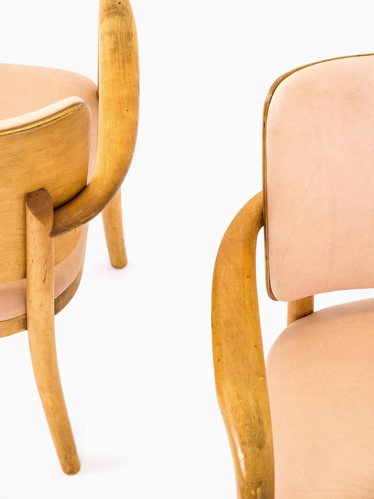 Finnish Pair of 1940s Birch & Aniline Leather Armchairs Designed by Werner West, Finland For Sale