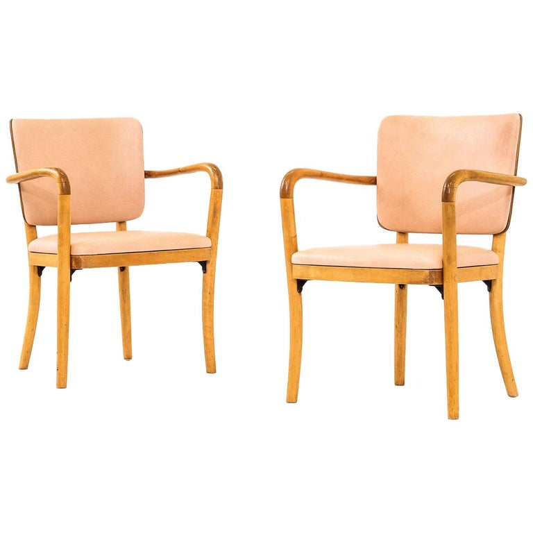 Pair of 1940s Birch & Aniline Leather Armchairs Designed by Werner West, Finland For Sale