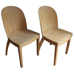 Pair of 1940s Birch Plywood Chairs Attributed to Thonet