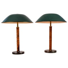 Pair of 1940s Böhlmarks Brass and Leather Table Lamps