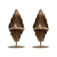 Pair of 1940s Bronze Leaf Accent Lamps