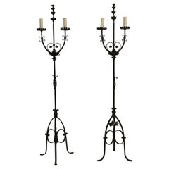 Pair of 1940s Candelabra Iron Floor Lamps