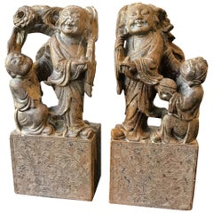 Pair of 1940s Carved Soapstone Chinese Figures