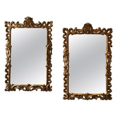 Pair of 1940s Carved Wood Gilt Mirrors