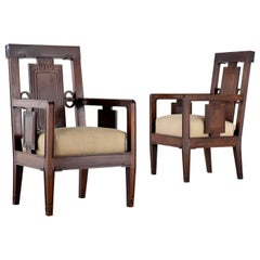 Pair of 1940s Chinese Rosewood Chairs