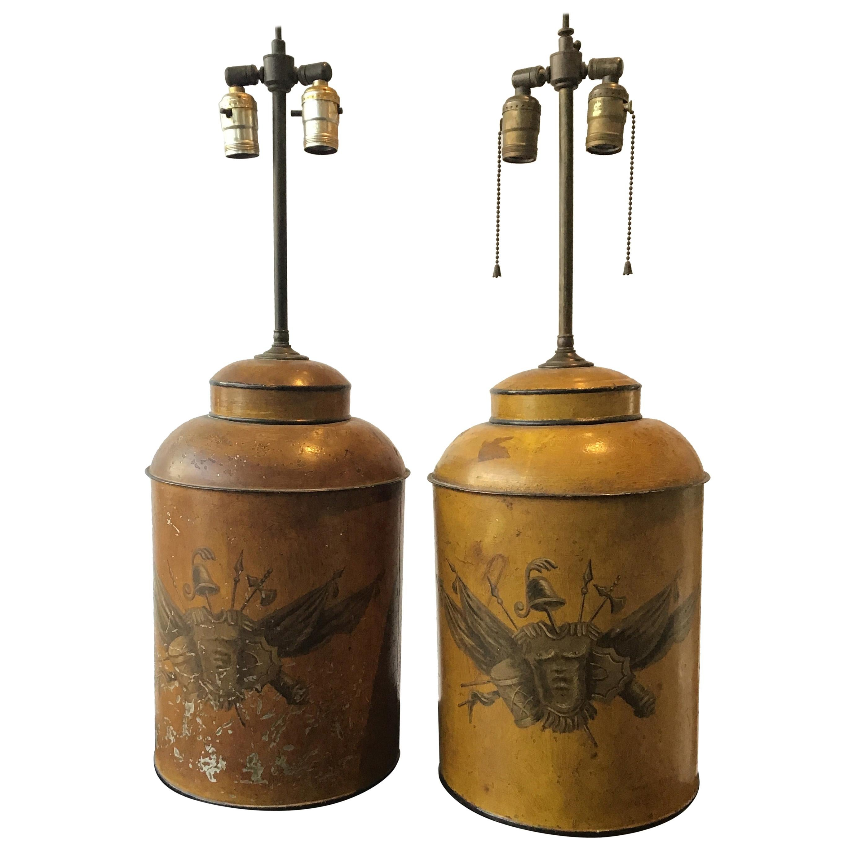 Pair of 1940s Classical Tole Lamps