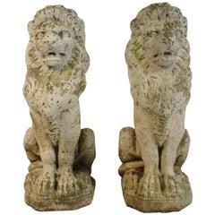 Pair of 1940s Concrete Lions