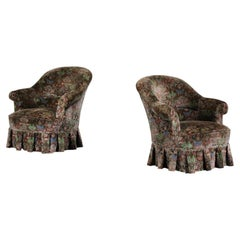 """Pair of 1940's """"crapaud"""" Armchairs Reupholstered with Art Nouveau Velvet"""