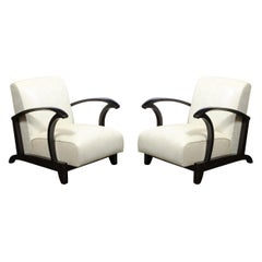 Pair of 1940s Ebonized Walnut Club Chairs in Great Plains Fabric by Holly Hunt