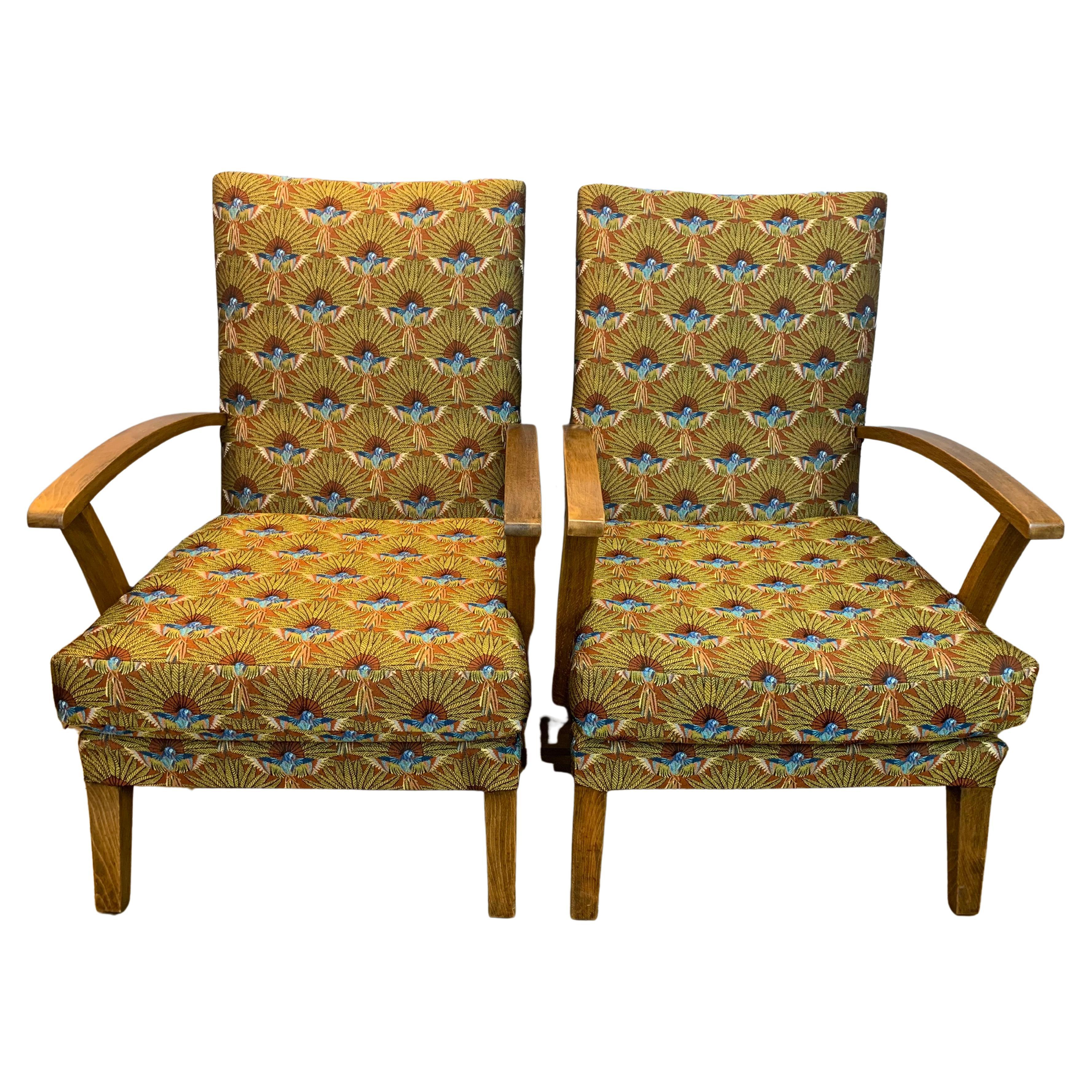 Pair of 1940s English Utility Armchairs Upholstered in Tropical Paradise Fabric