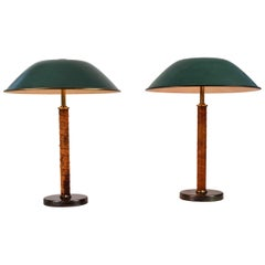 Pair of 1940s Finnish Brass and Leather Table Lamps