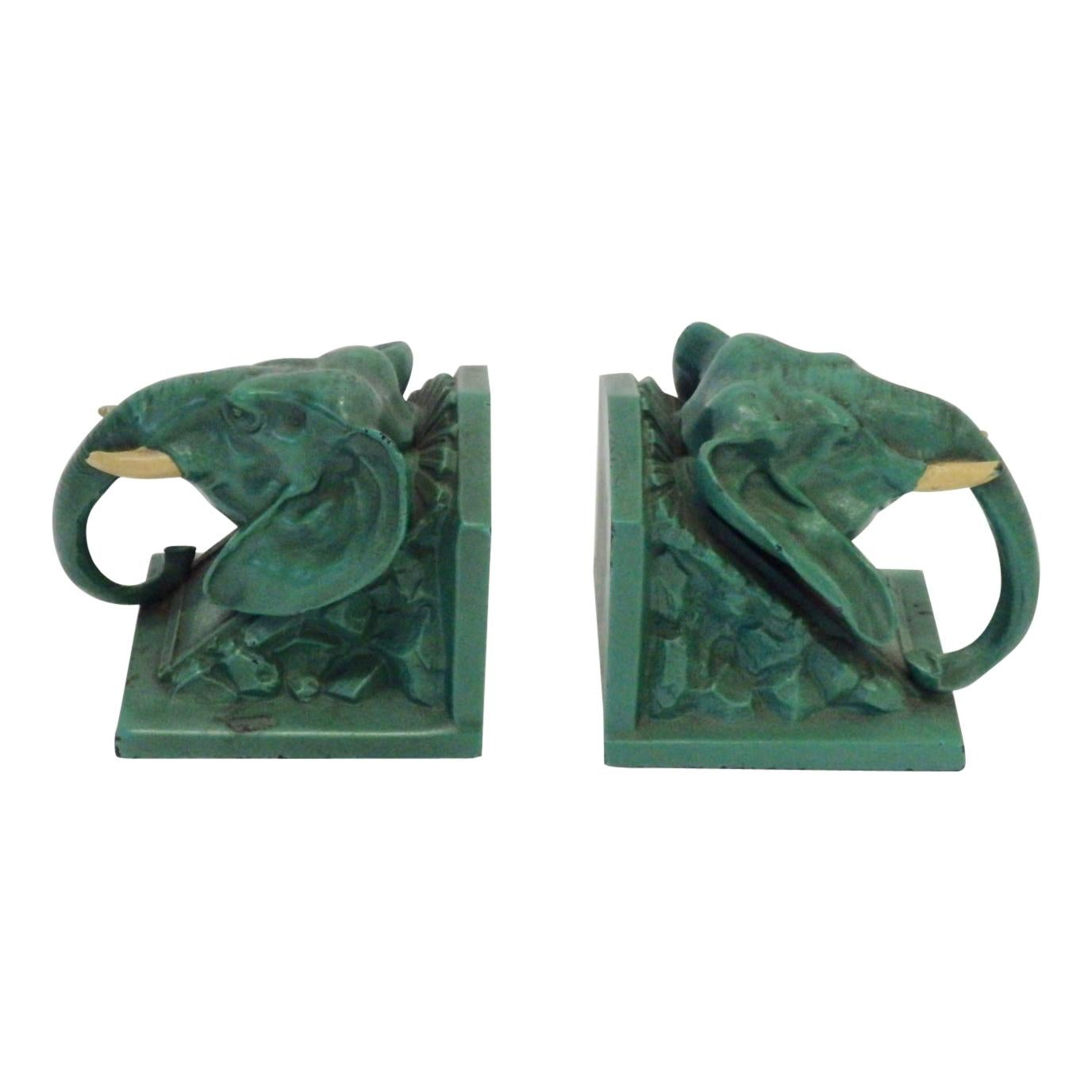 Pair of 1940s Frankart Style Elephant Bookends
