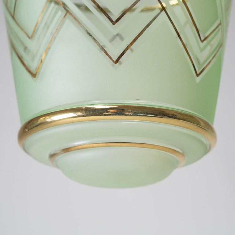 Nickel Pair of 1940s French Art Deco Lanterns, Mint Glass and Gold Paint For Sale