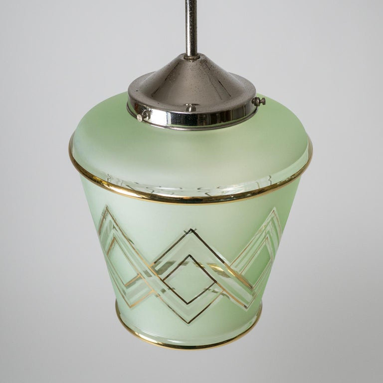 Pair of 1940s French Art Deco Lanterns, Mint Glass and Gold Paint For Sale 7