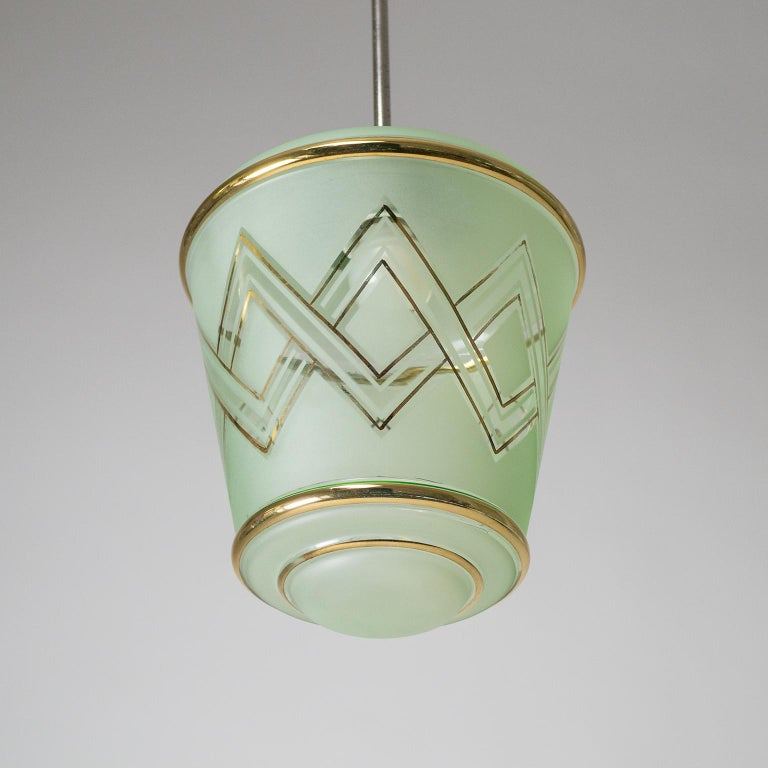Mid-20th Century Pair of 1940s French Art Deco Lanterns, Mint Glass and Gold Paint For Sale